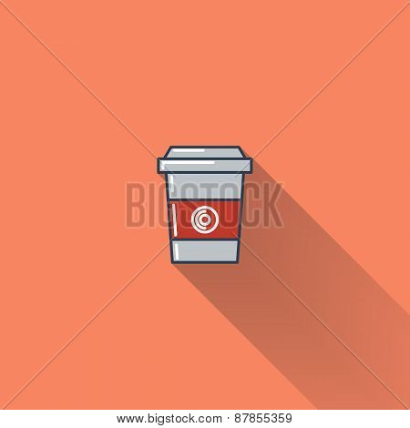 Coffee cup flat icon with long shadow.