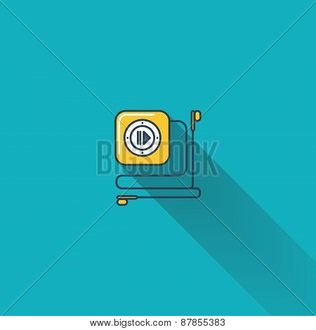 mp3 audio player flat icon with long shadow.