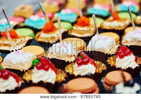 catering services background with sweet snacks and food in restaurant
