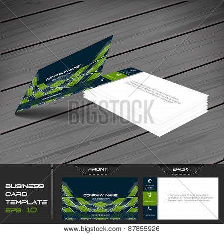 Business card vector template with front and back side