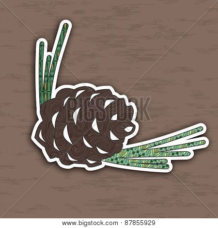 Design Element Pinecone. Illustration Of Concept. Vector