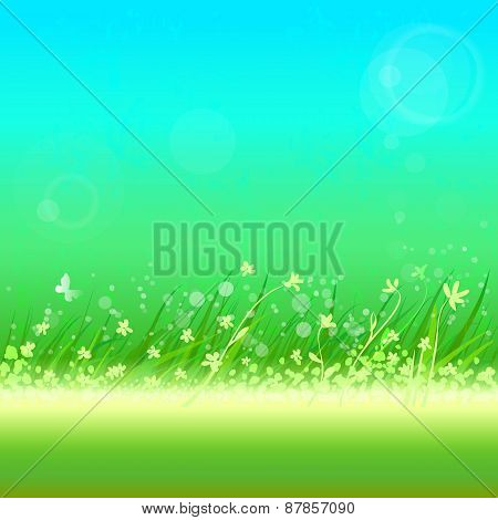 Summer Sky With Grass Frame For Your Text