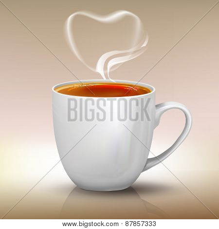 Realistic Cup Of Black Tea, Vector Object Illustration