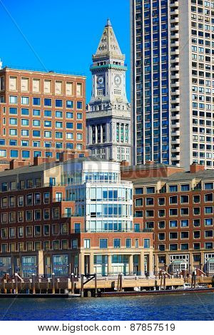 Boston Clock tower Custom House from Harbor Massachusetts USA