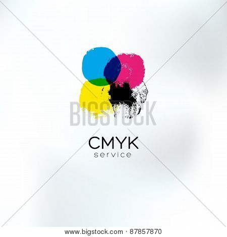 Cmyk Squared Circlea Drawing Logo Concept