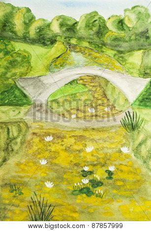 Summer Landscape With Bridge, Painting
