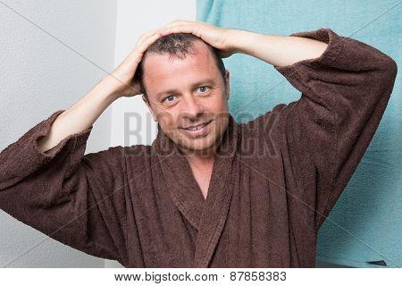 Man In A Brown Bathrobe