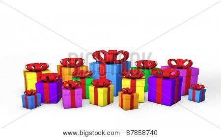 Colorful gift boxes isolated on a white background