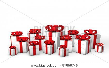 White gift boxes isolated on a white background