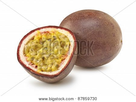Isolated Passion Fruit Cut In Half