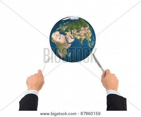 World Globe Ball With Fork And Knife Isolated, Elements Of This Image Furnished By Nasa