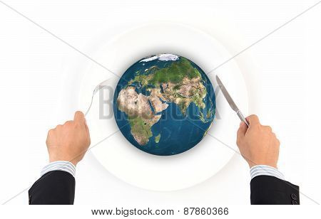 World Globe Ball With Fork And Knife, Elements Of This Image Furnished By Nasa