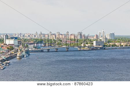 Summer View Of Dnipro River In Kyiv, Ukraine