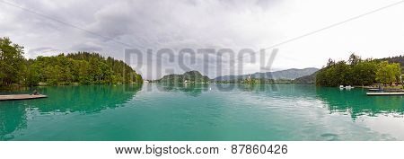 Panoramic View Of Bled Lake In Spring, Slovenia