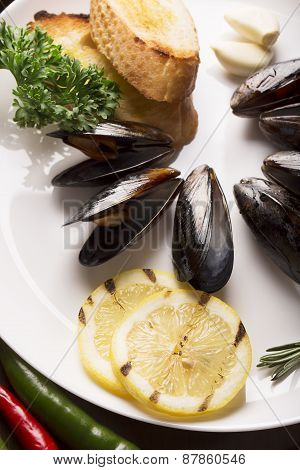 Mussels With Fried Bread And Lemon