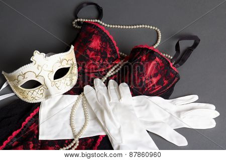 Sexy Female Lingerie, Mask And Gloves On Grey