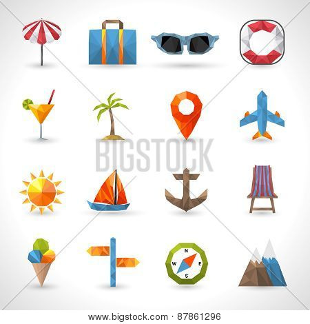 Travel Polygonal Icons