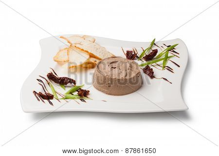 liver pate on a white plate