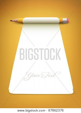 pencil with paper - vector illustration