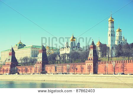 Panoramic view of The Moscow Kremlin, Russia. Instagram style filtred image