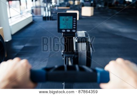 Closeup image of simulator with screen at gym