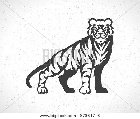 Tiger logo emblem template mascot symbol for business or shirt design. Vector Vintage Design Element.