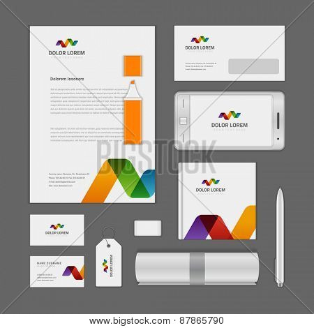 Abstract Logotype corporate identity template Mock up design elements. Vector clean white Business stationery, cd, envelope, document, business card, .