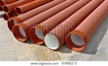 Construction Site, Heap Of Pvc Tubes
