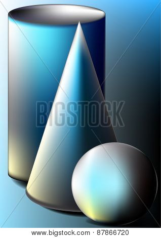 Ball,cone,cylinder