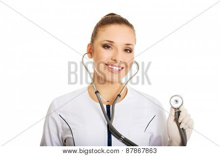 Portrait of female doctor with a stethoscope.