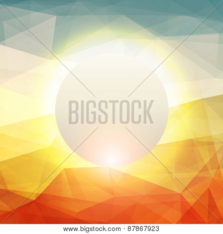 Abstract background with glowing sun, warm texture design