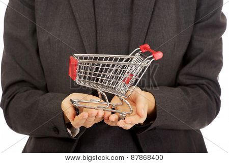 Attractive businesswoman with shopping cart.