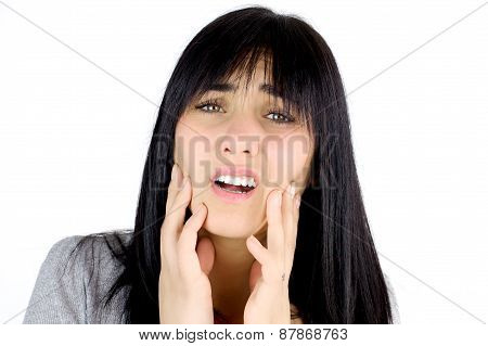 Sad Woman Suffering Pain Because Of Dead Teeth