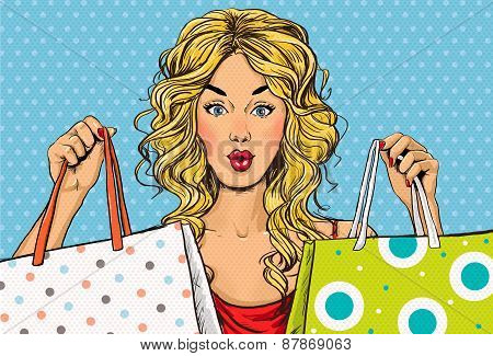 Pop Art blond women with shopping bags in the hands.Shopping Time.Sale and discount time.