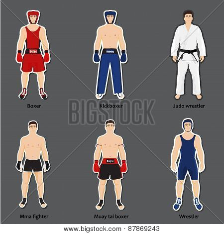 Set of different fighters in sports equipment