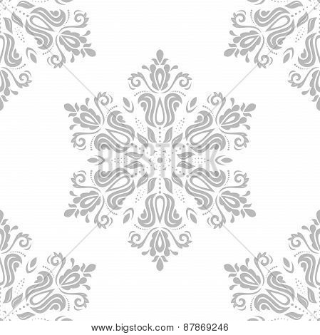 Damask Seamless  Pattern. Orient Grey Background