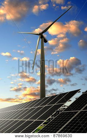solar energy panel and wind turbine