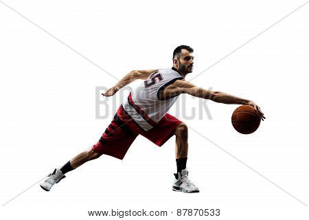 Basketball player in action isolated on white