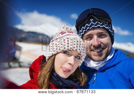 Couple outside in winter nature