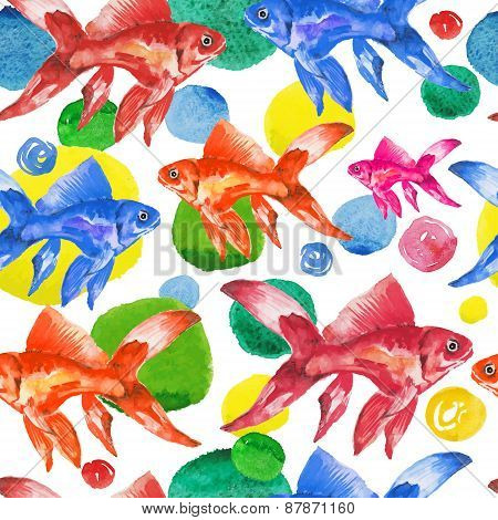 Seamless pattern watercolor colorful fish and drops.