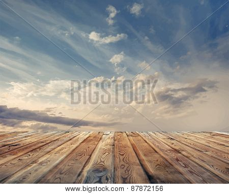 sunset sky and wood floor, vector