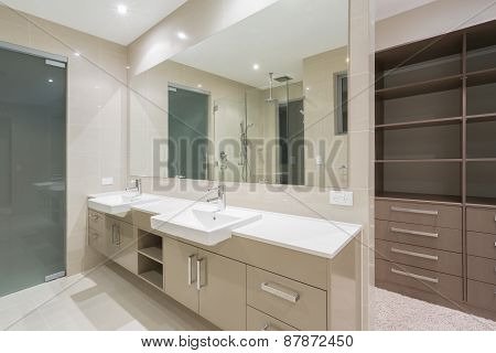 Modern Bathroom With Walk In Robe