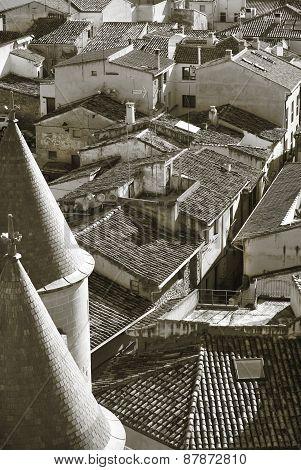 Rural Village Of Olite In Navarra. Sepia Tone. Spain
