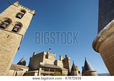 Antique Castle And Bell Tower In Olite. Navarra, Spain