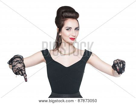 Young Beautiful Woman In Retro Pin Up Style Showing On Something By Finger