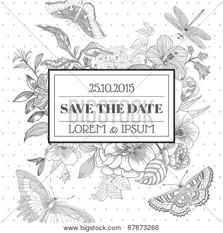 Save the Date - Floral Shabby Chic Card - vintage design - in vector