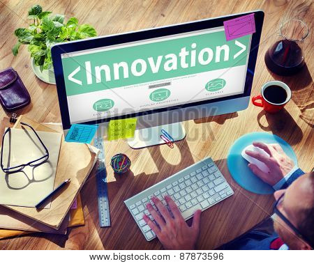 Digital Online Innovation Development Web Page Browsing Concept