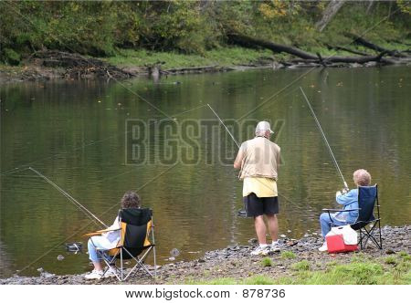 Three Seniors Fishing