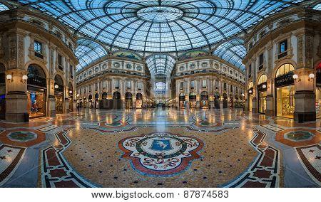 Famous Bull Mosaic In Galleria Vittorio Emanuele Ii In Milan, Italy