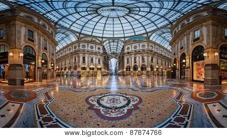 Mosaic Floor And Glass Dome In Galleria Vittorio Emanuele Ii In Milan, Italy